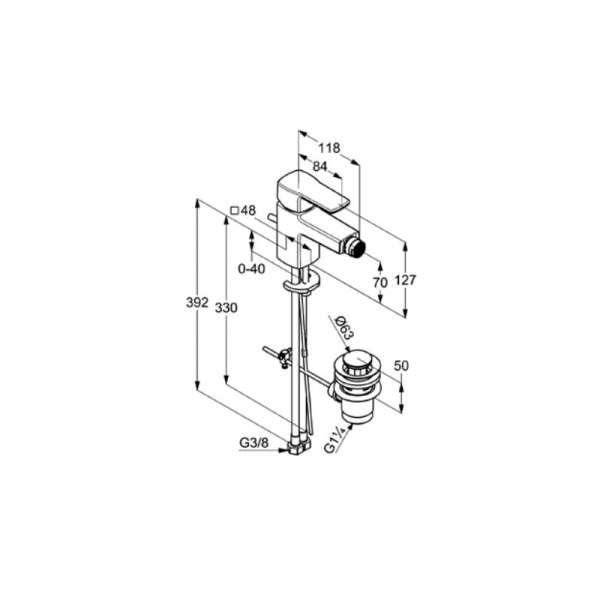 rysunek techniczny baterii bidetowej Q-beo 502160565-image_Kludi_502160565_3