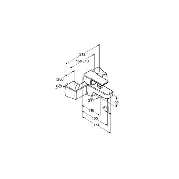 Wymiary techniczne baterii wannowej Kludi Q-Beo 504430565-image_Kludi_504430565_3