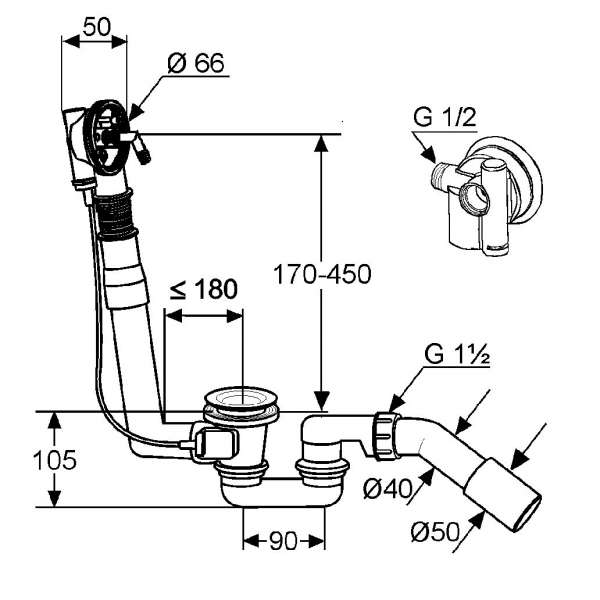 wymiary techniczne syfonu Rotexa 21315-image_Kludi_2131500-00_3