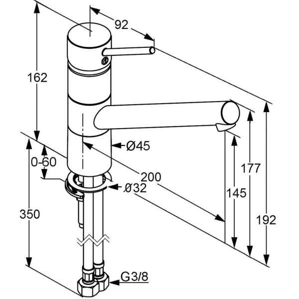 Rysunek techniczny baterii kuchennej Kludi Scope 339300575-image_Kludi_339300575_3