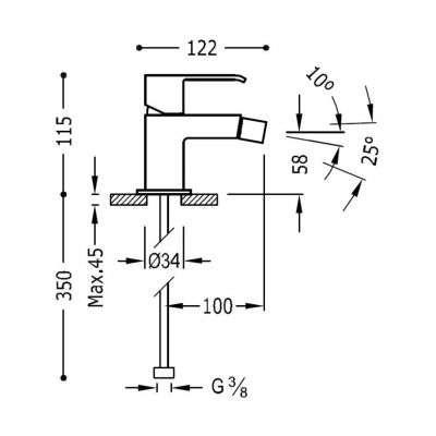 Wymiary techniczne białej baterii do bidetu Tres Cuadro White 006.120.01.BM.D-image_Tres baterie do kuchni i łazienki_006.120.01.BM.D_2