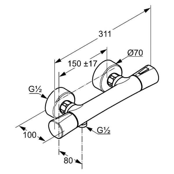 Wymiary techniczne baterii prysznicowej Kludi Zenta 351009138-image_Kludi_351009138_3