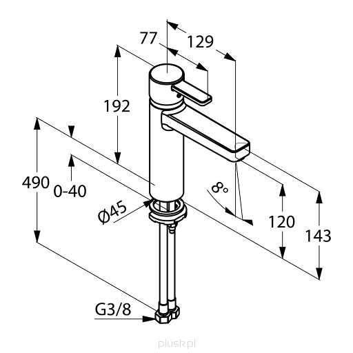Wymiary techniczne baterii umywalkowej Kludi 382650575-image_Kludi_382650575_3