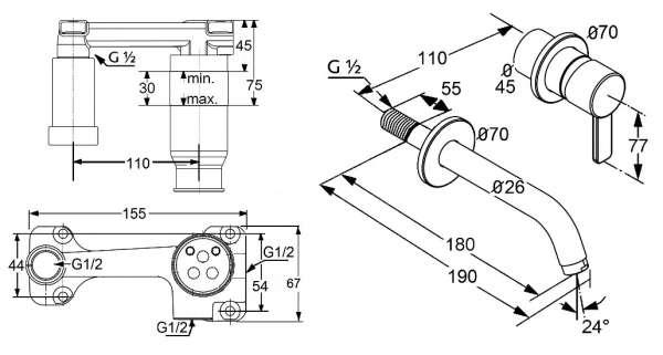 Wymiary techniczne baterii umywalkowej podtynkowej Zenta -image_Kludi_KL/ZENTA/U180_3