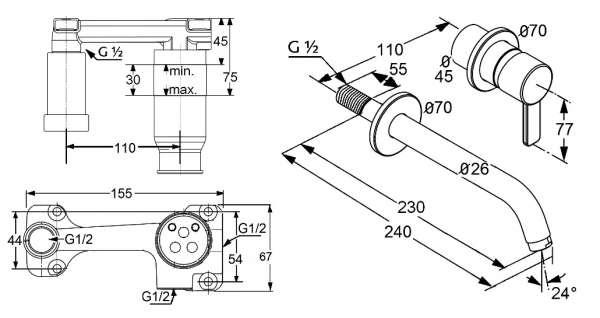 Wymiary techniczne baterii Kludi Zenta 382450575 wraz z elementem 38243-image_Kludi_KL/ZENTA/U230_3