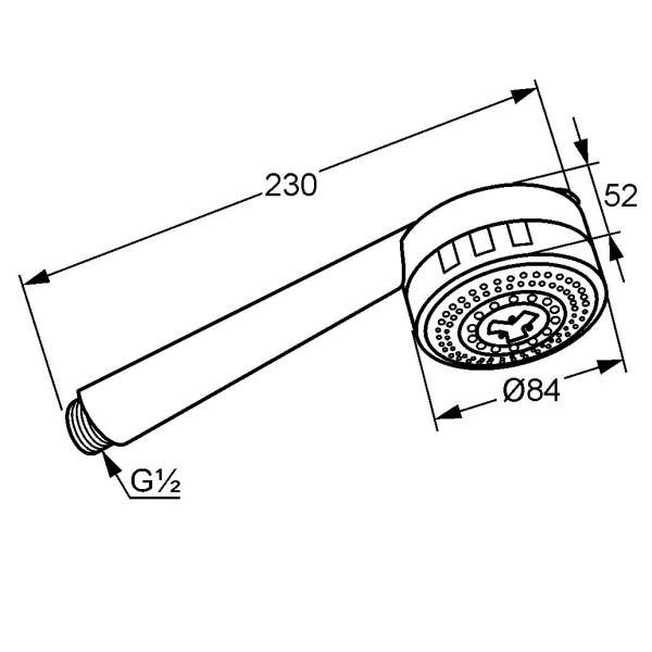 Rysunek techniczny zestawu natryskowego Kludi Zenta 607000500-image_Kludi_6070005-00_3