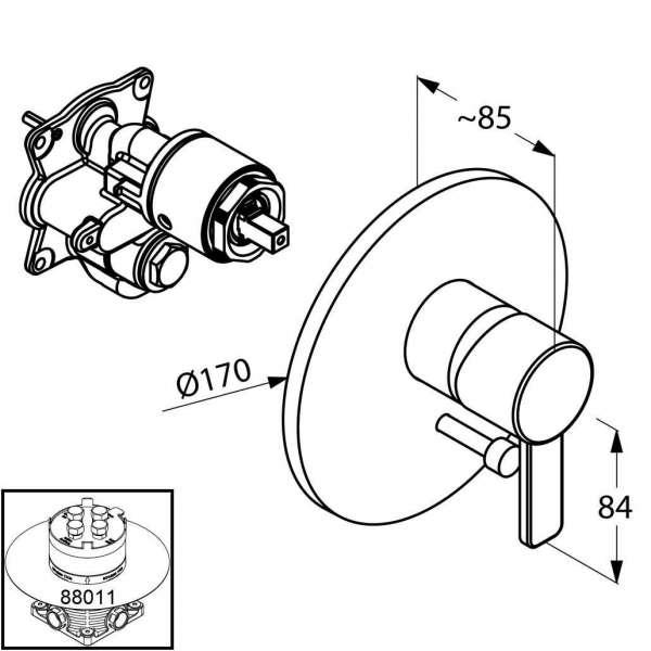 Rysunek techniczny podtynkowej baterii wannowej Kludi Zenta 386500575-image_Kludi_386500575_3