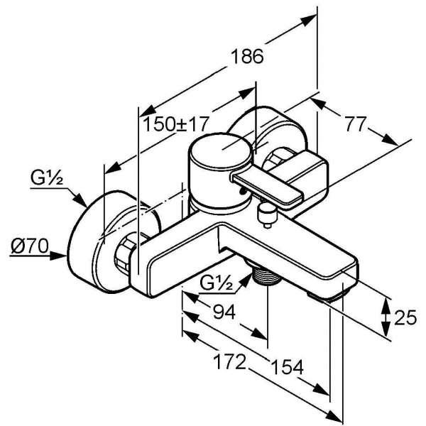 Wymiary techniczne baterii wannowo-natryskowej Kludi Zenta 386708675-image_Kludi_386708675_3