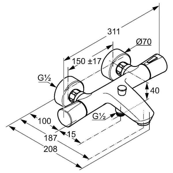 Wymiary techniczne baterii wannowej Kludi Zenta 351018638-image_Kludi_351018638_3