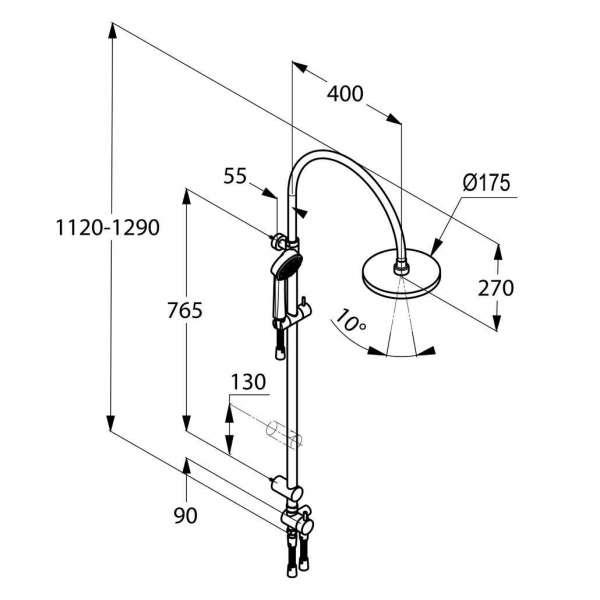 Wymiary techniczne zestawu natryskowego z deszczownicą Kludi Dual Shower System 616770500-image_Kludi_6167705-00_3