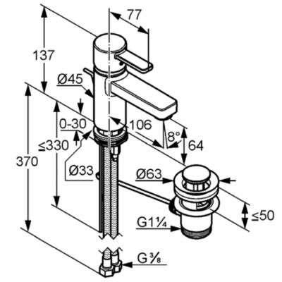 Wymiary techniczne baterii do umywalki Kludi Zenta Eco 382520575-image_Kludi_382520575_4