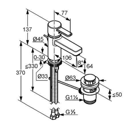 Wymiary techniczne baterii umywalkowej Kludi Zenta Eco 382530575-image_Kludi_382530575_3
