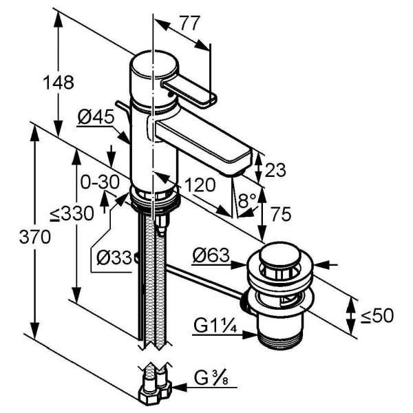 Wymiary techniczne czarnej baterii umywalkowej Kludi Zenta 382608675-image_Kludi_382608675_4