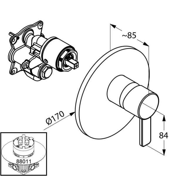 Wymiary techniczne baterii prysznicowej Kludi Zenta 386559175-image_Kludi_386559175_3