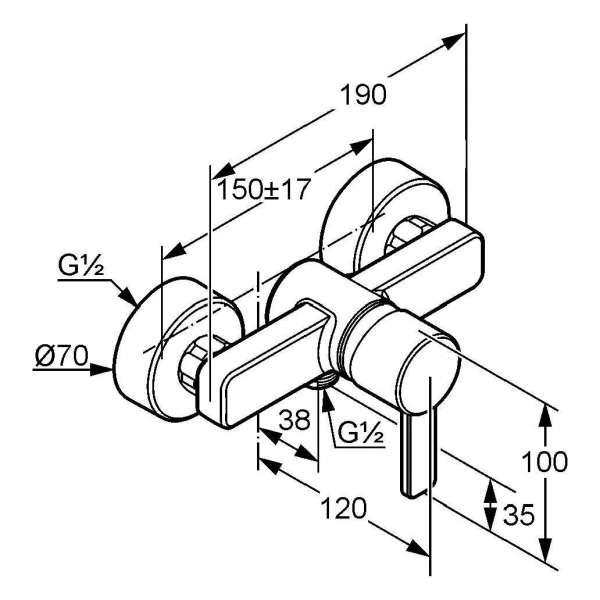 Wymiary techniczne baterii prysznicowej Kludi Zenta 388700575-image_Kludi_388700575_3