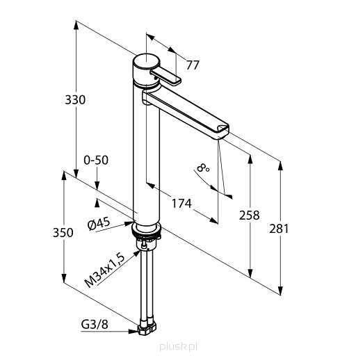 Wymiary techniczne Baterii umywalkowej Kludi Zenta 382570575-image_Kludi_382570575_4
