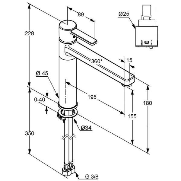 Rysunek techniczny baterii kuchennej Kludi Zenta 389730575-image_Kludi_389730575_3