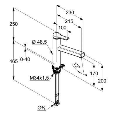 Wymiary techniczne baterii kuchennej Kludi Zenta 389840575 z obrotową wylewką.-image_Kludi_389840575_4