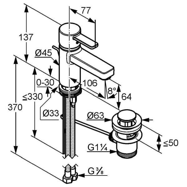 Wymiary techniczne baterii umywalkowej Kludi Zenta 382500575-image_Kludi_382500575_4