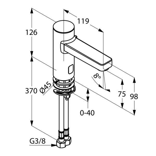 Rysunek techniczny baterii umywalkowej Kludi Zenta 3810005-image_Kludi_3810005_3