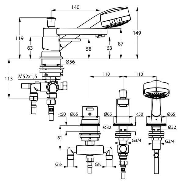Wymiary techniczne baterii wannowej Kludi Zenta 384460575-image_Kludi_384460575_3