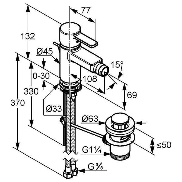Wymiary techniczne baterii bidetowej Kludi Zenta 385309175-image_Kludi_385309175_3