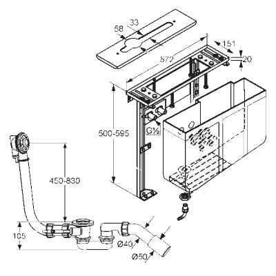 Rysunek techniczny bloku montażowego Kludi 748020000-image_Kludi_7480200-00_3
