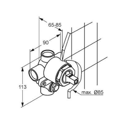 Wymiary techniczne elementu podtynkowego Kludi 38 624N.-image_Kludi_38624N_4