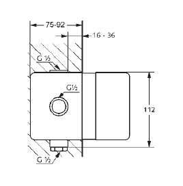 Wymiary techniczne elementu podtynkowego Kludi-image_Kludi_38625_3