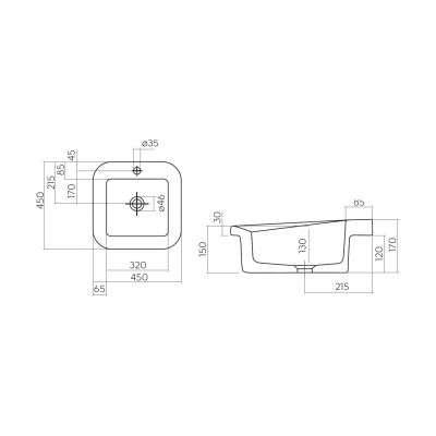 Dane techniczne kwadratowej Umywalki Cocktail -image_Koło_L31846000_3
