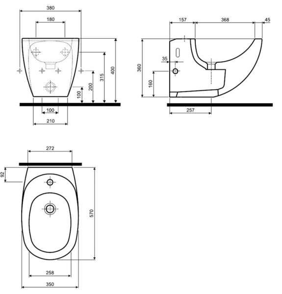 rysunek techniczny bidetu K15100-image_Koło_K15100000_5