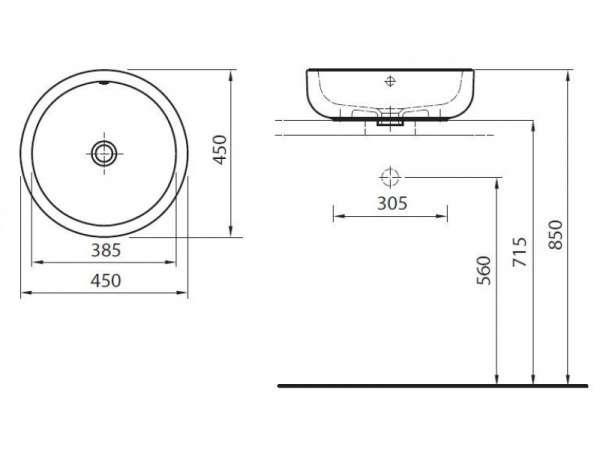 rysunek techniczny umywalki Ego K12145-image_Koło_K12145000 _5