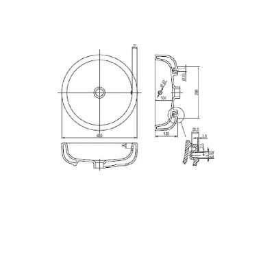 wymiary techniczne okrągłej umywalki ego z powłoką reflex-image_Koło_K12145900_4