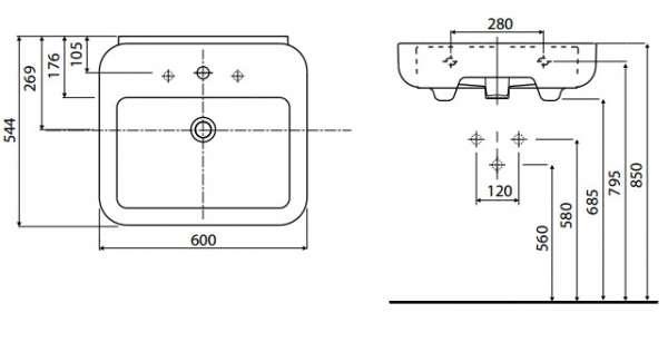 rysunek techniczny umywalki Ego K11162-image_Koło_K11162000 _3
