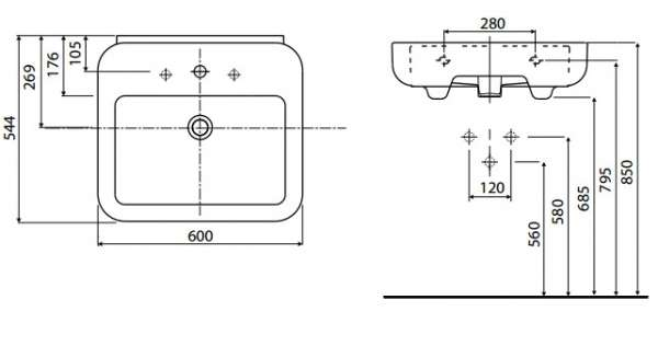 Rysunek techniczny umywalki Ego 60 cm K11162900-image_Koło_K11162900_5