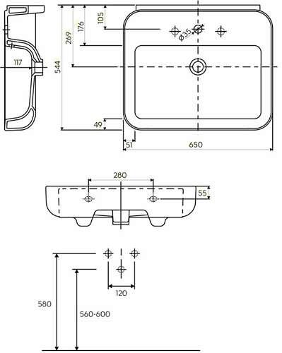rysunek techniczny umywalki ego 65 cm K11165000 -image_Koło_K11165000 _5