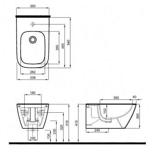 Wymiary techniczne bidetu podwieszanego Koło Modo L35100-image_Koło_L35100000_3