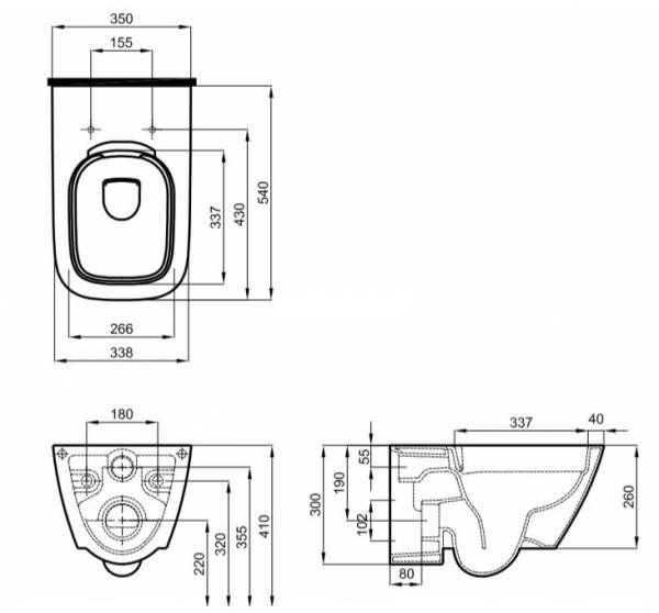 Rysunek techniczny miski wiszącej Modo L33120-image_Koło_L33120000_4