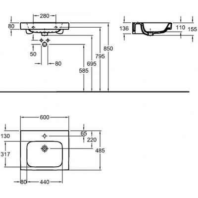 Rysunek techniczny umywalki Koło Modo 60cm L31960000-image_Koło_L31960000_3