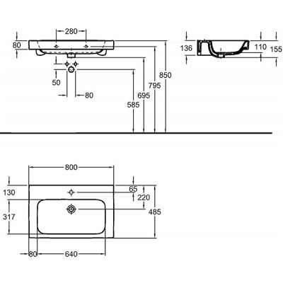 wymiary techniczne umywalki modo z powłoką antybakteryjną-image_Koło_L31980900_3