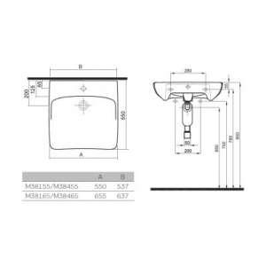 Rysunek techniczny umywalki Nova Pro Bez Barier-image_Koło_M38455000_2