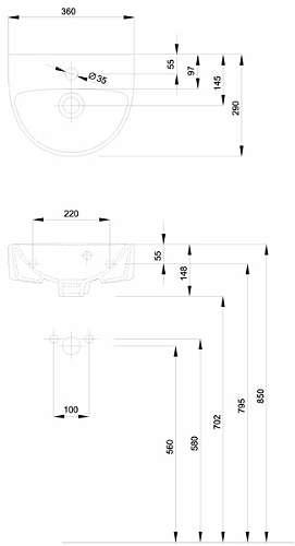 Rysunek techniczny umywalki Koło Nova Pro M32136000-image_Koło_M32136000_3