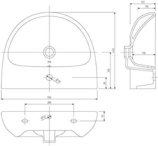 Rysunek techniczny umywalki Koło Nova Pro M31155000-image_Koło_M31155000_5