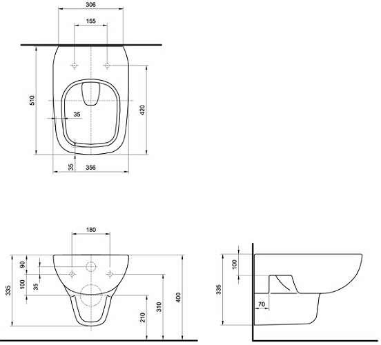 Wymiary techniczne miski wiszącej https://termicotychy.pl/kolo-style-l23100-miska-wiszaca-wc do wc KOŁO STYLE L23100-000 -image_Koło_L23100000_6