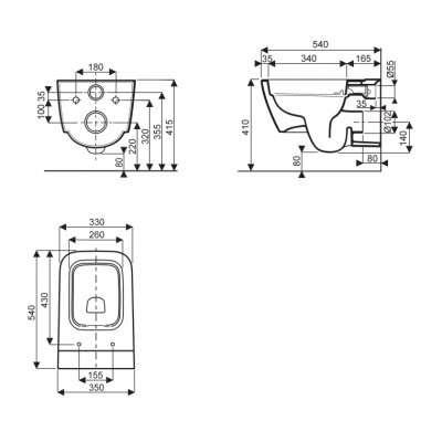 Koło Style wymiary techniczne miski wc Rimfree -image_Koło_L23120000_2