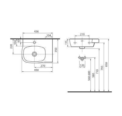 Wymiary techniczne asymetrycznej umywalki Koło Style -image_Koło_L22145900_3