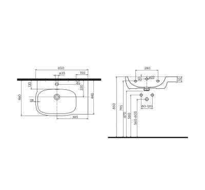 Koło Style wymiary techniczne asymetrycznej umywalki -image_Koło_L21765000_2