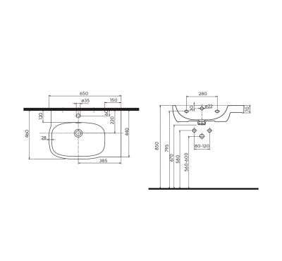 Dane techniczne umywalki Koło Style L21765900 -image_Koło_L21765900_2