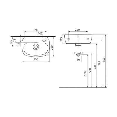 Koło Style umywalka z otworem po prawej stronie wymiary techniczne -image_Koło_L22136900_2