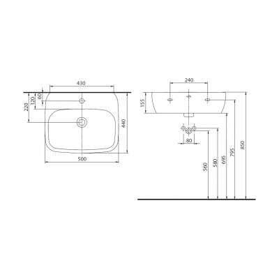 Rysunek techniczny umywalki Koło Style w rozmiarze 50cm L21950000-image_Koło_L21950000_2
